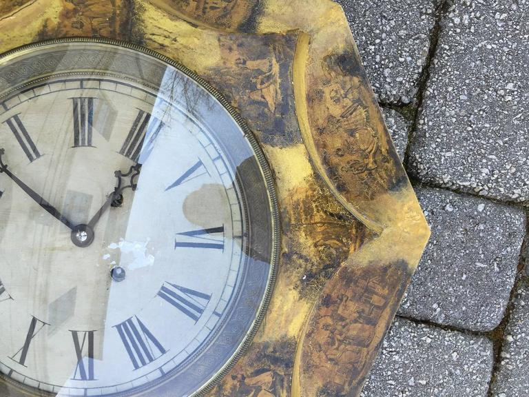 Large 19th Century French Tole Clock In Excellent Condition For Sale In Atlanta, GA