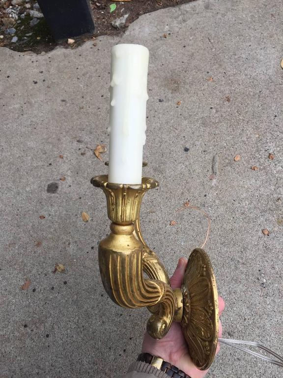 Pair of 19th-20th Century French Fire Gilded Bronze Empire Style Two-Arm Sconces 4
