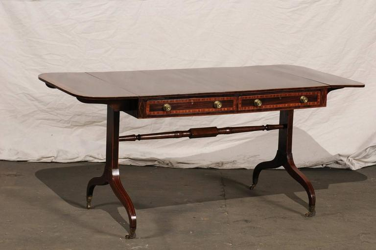 19th Century English Regency Style Inlaid Sofa Table For Sale 1