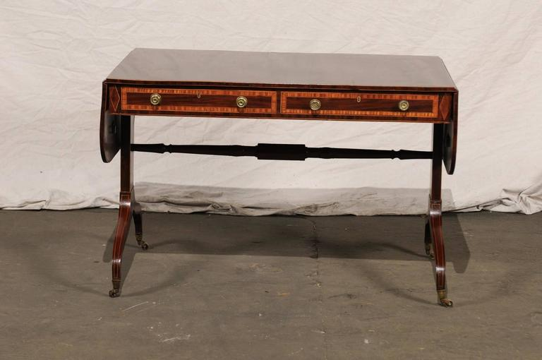 19th Century English Regency Style Inlaid Sofa Table For Sale 3