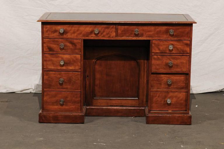 19th century English mahogany knee-hole desk.