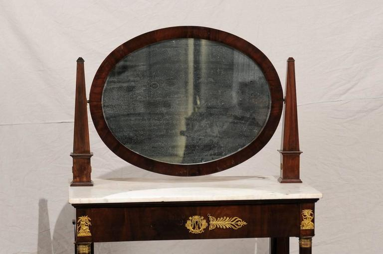 19th Century Empire Flame Mahogany Dressing Table In Good Condition For Sale In Atlanta, GA