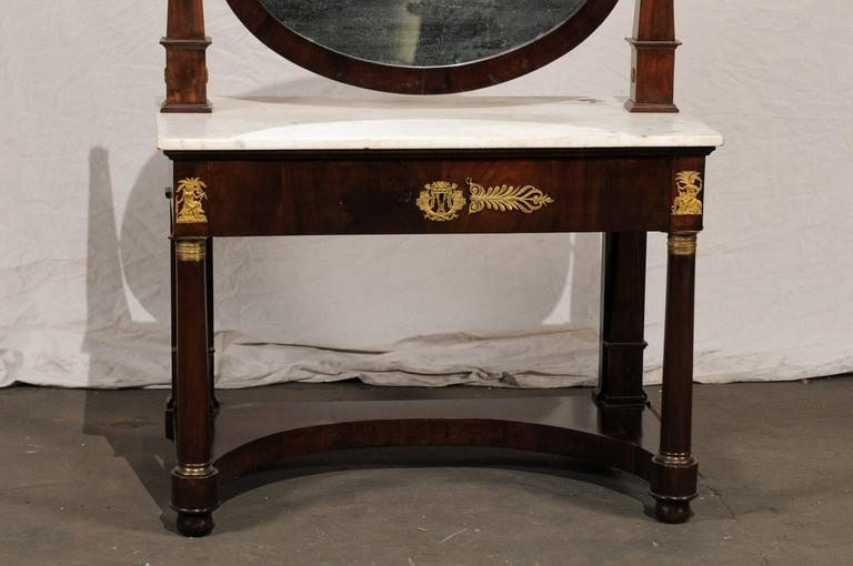 19th Century Empire Flame Mahogany Dressing Table 4