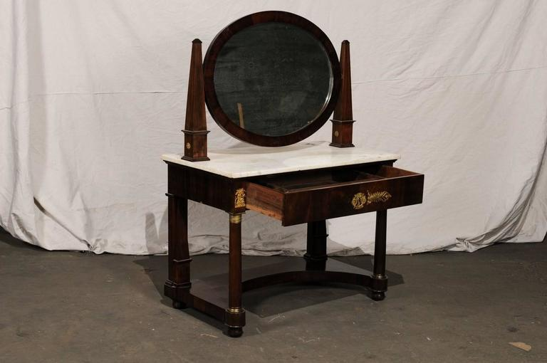 19th Century Empire Flame Mahogany Dressing Table For Sale 2