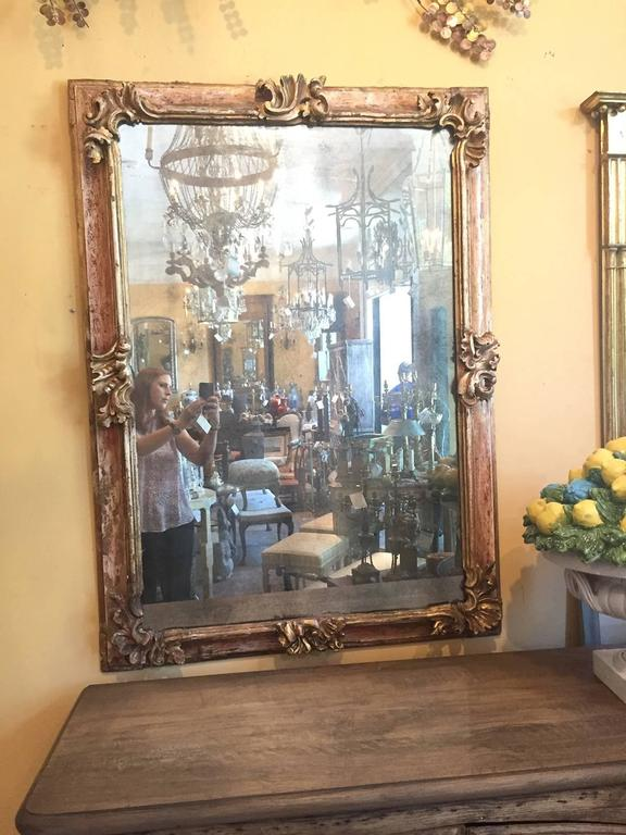 19th century Early Italian Baroque Framed Mirror, with beautiful old finish.