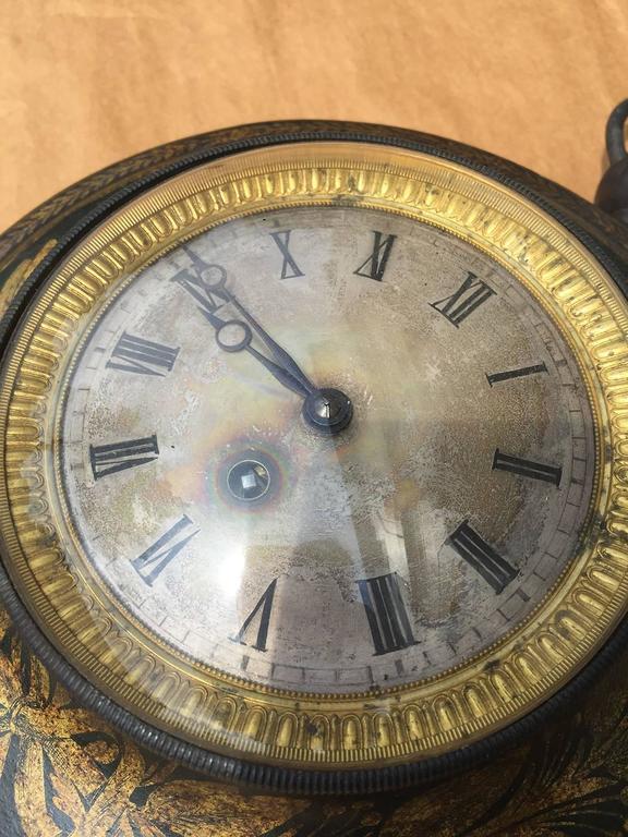 19th Century French Tole Clock In Good Condition For Sale In Atlanta, GA