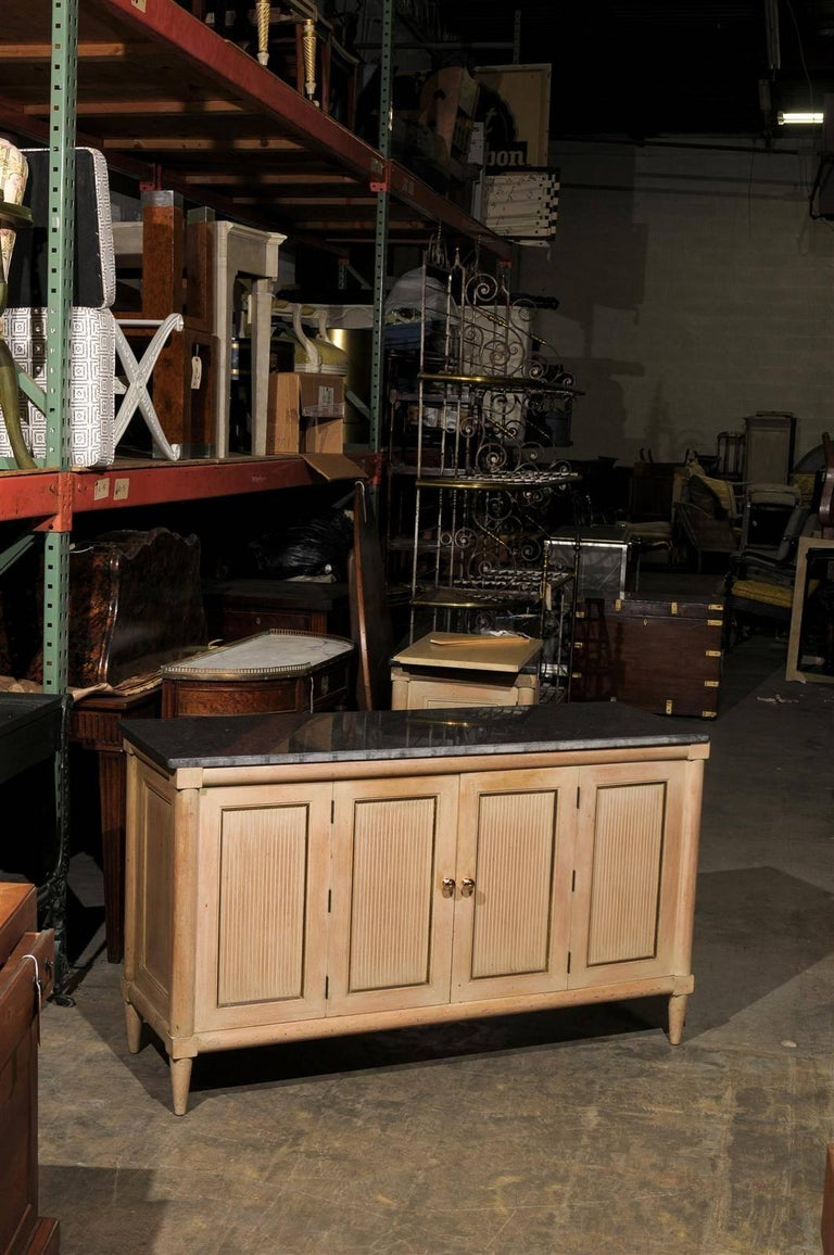 Pair Of American Mid Century Marble Top Long Cabinets In Good Condition For