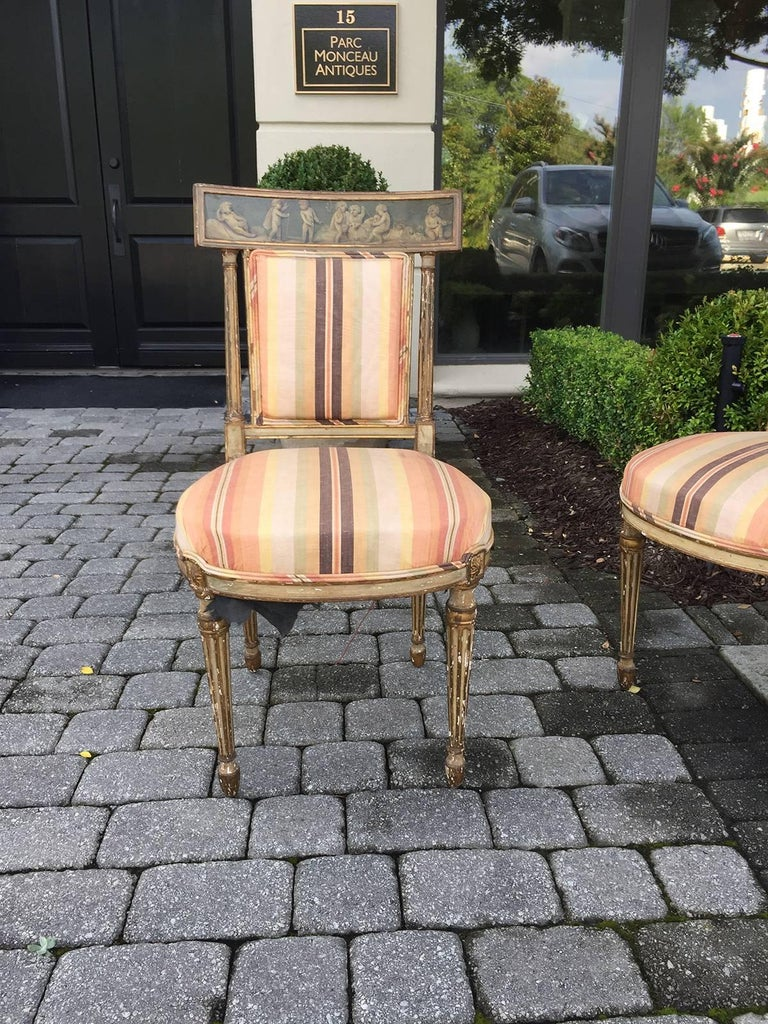 Pair of 19th Century English Painted Chairs with Striped Upholstery 2
