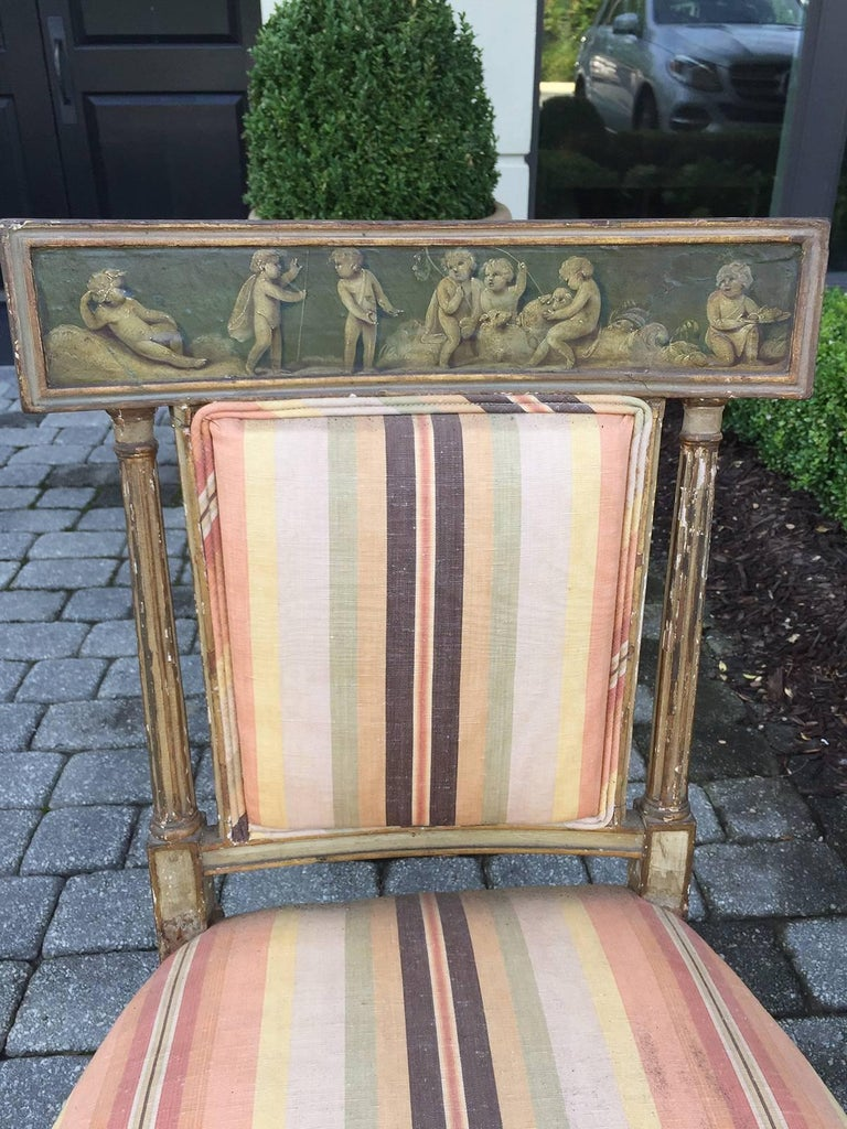 Pair of 19th Century English Painted Chairs with Striped Upholstery 3