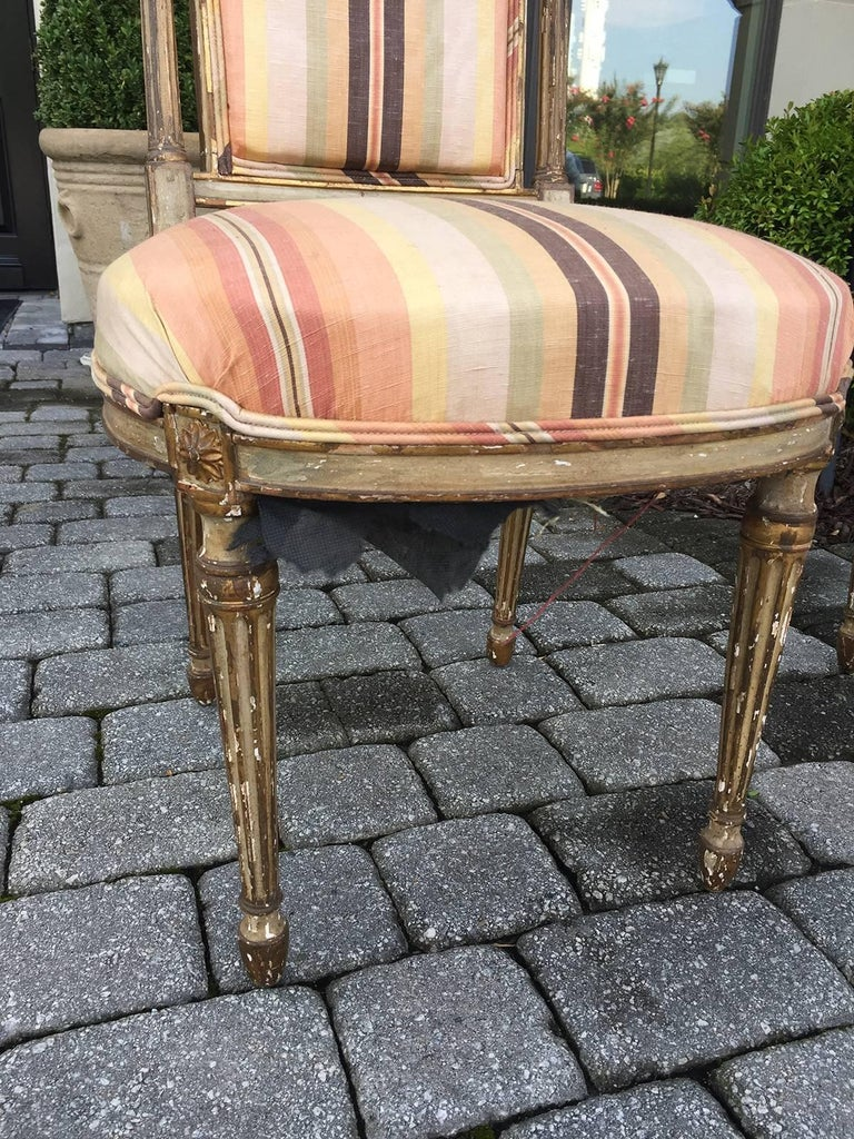 Pair of 19th Century English Painted Chairs with Striped Upholstery 4