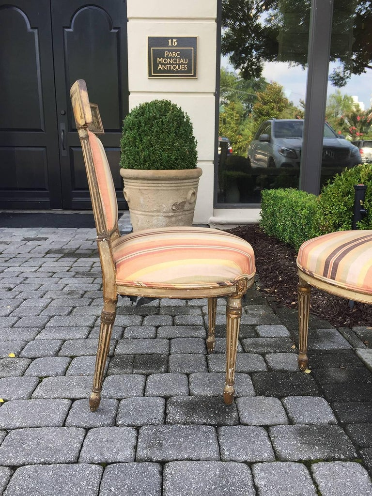 Pair of 19th Century English Painted Chairs with Striped Upholstery 5