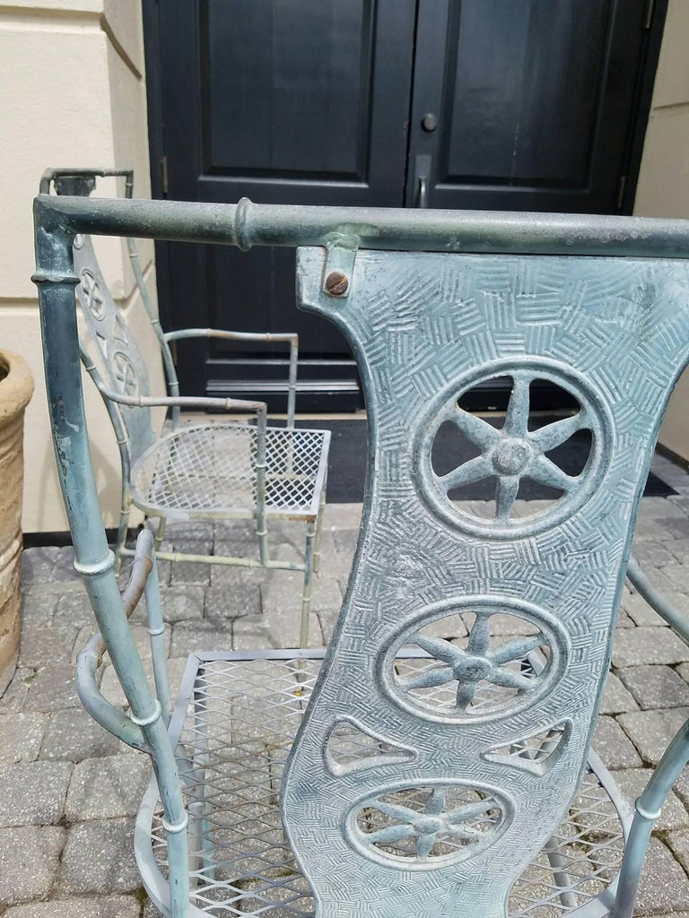 """Set of Four Iron Armchairs in The Style of Salterini """"Montego"""" 7"""