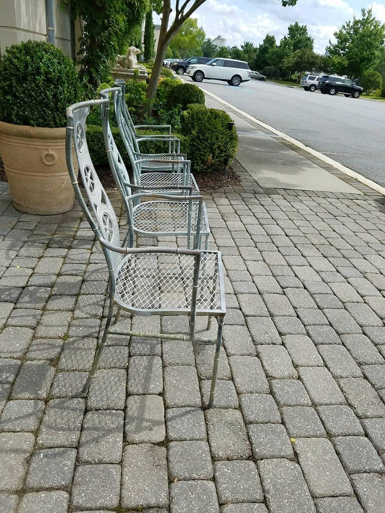 """Set of Four Iron Armchairs in The Style of Salterini """"Montego"""" 10"""