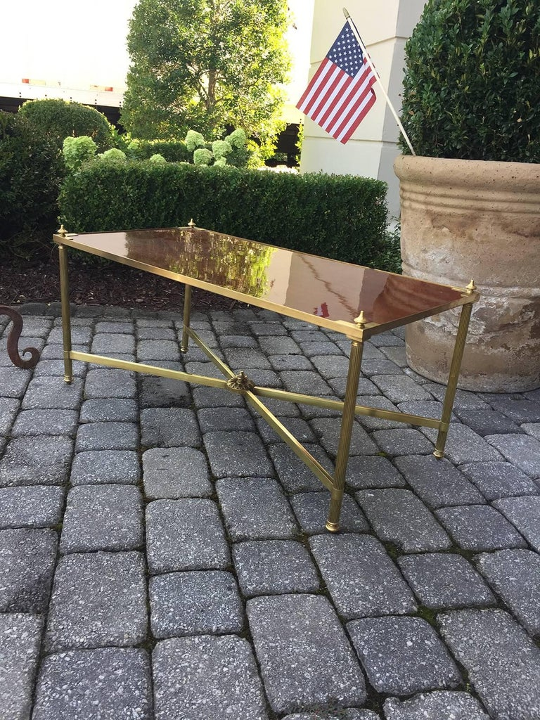 Italian Neoclassical Brass with Brass with Wood Top Coffee Table, circa 1970s 2
