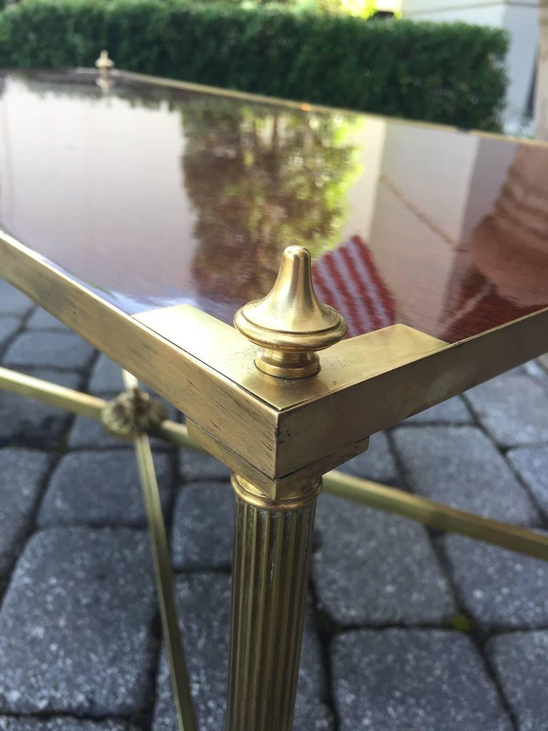 Italian Neoclassical Brass with Brass with Wood Top Coffee Table, circa 1970s 4