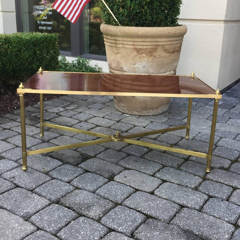 Italian Neoclassical Brass with Brass with Wood Top Coffee Table, circa 1970s 8