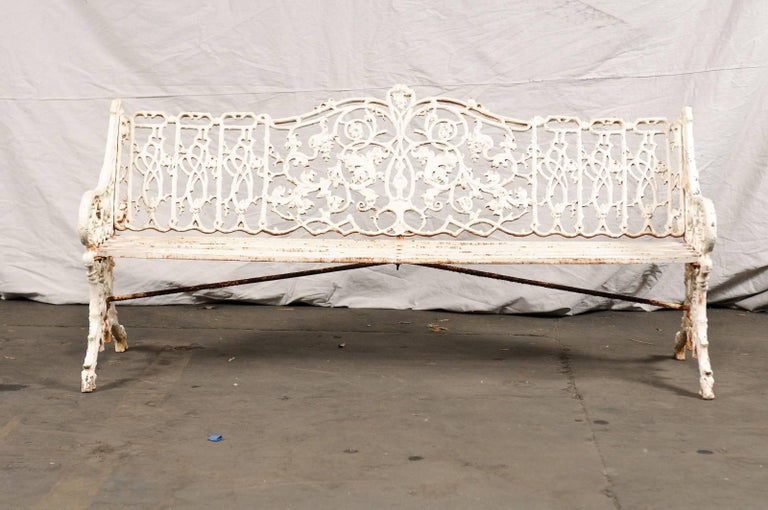 19th century iron English garden bench.
