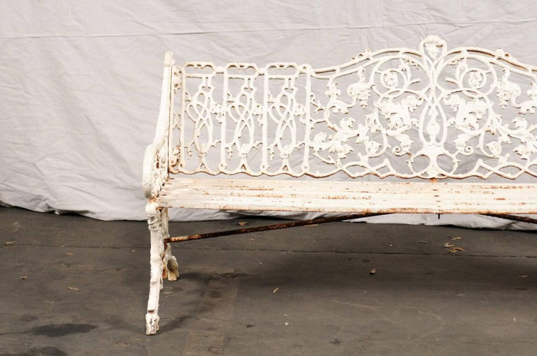 19th Century Iron English Garden Bench In Good Condition For Sale In Atlanta, GA