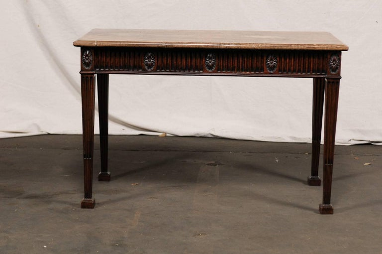 19th Century George III Style Carved Mahogany Specimen Marble-Top Console.