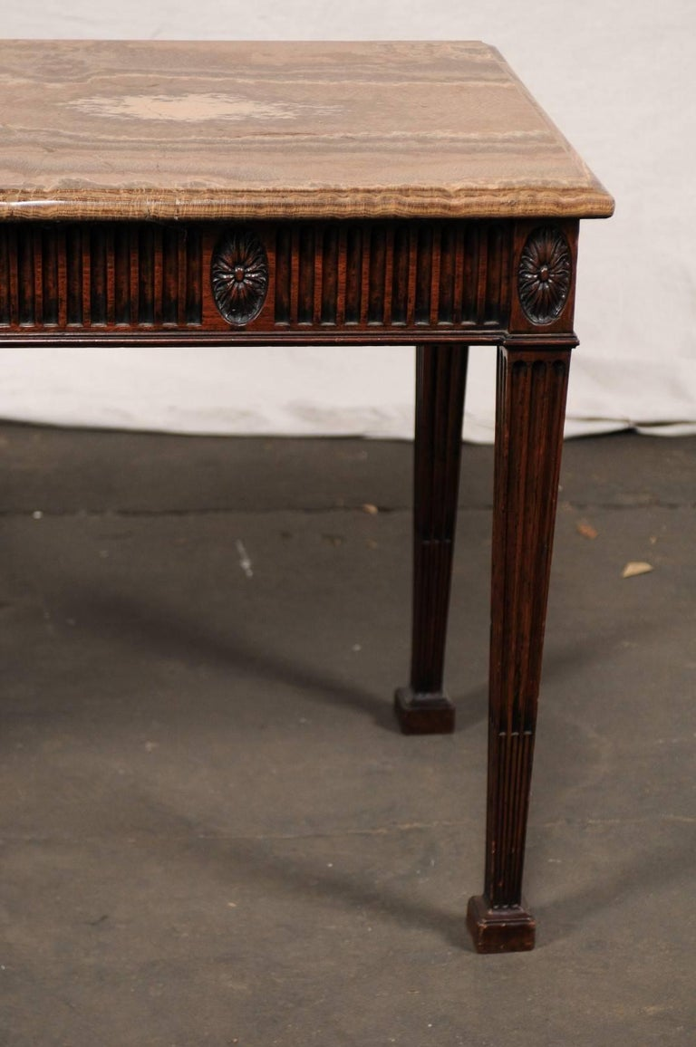 19th Century George III Style Carved Mahogany Specimen Marble-Top Console In Good Condition For Sale In Atlanta, GA