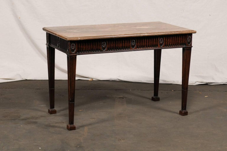 19th Century George III Style Carved Mahogany Specimen Marble-Top Console For Sale 1