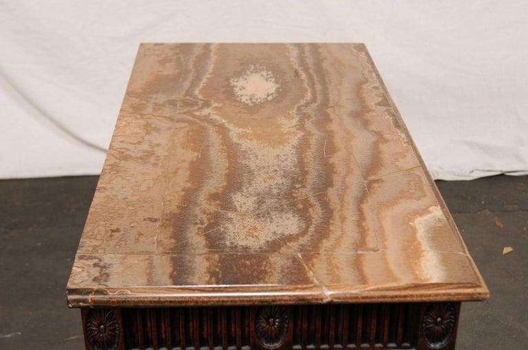 19th Century George III Style Carved Mahogany Specimen Marble-Top Console For Sale 3