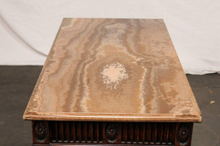 19th Century George III Style Carved Mahogany Specimen Marble-Top Console For Sale 7