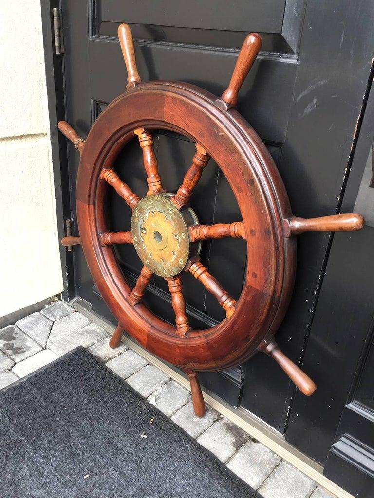 19th-20th Century Mahogany Ship Wheel In Good Condition For Sale In Atlanta, GA