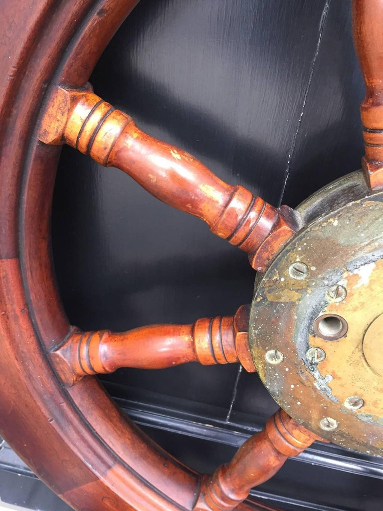 19th-20th Century Mahogany Ship Wheel For Sale 2
