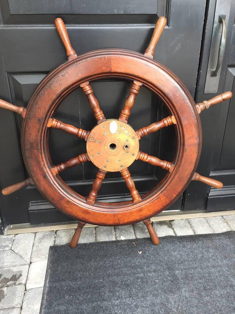 19th-20th Century Mahogany Ship Wheel For Sale 4