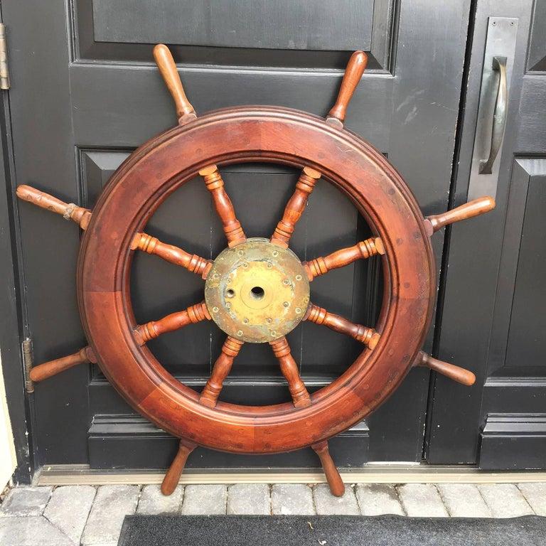 19th-20th Century Mahogany Ship Wheel For Sale 6