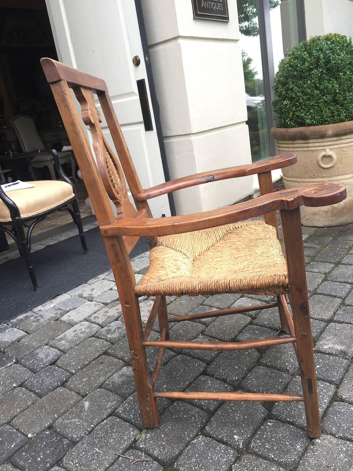 18th 19th Century Provencial Italian Chair, Walnut With Rush Seat In Good  Condition For