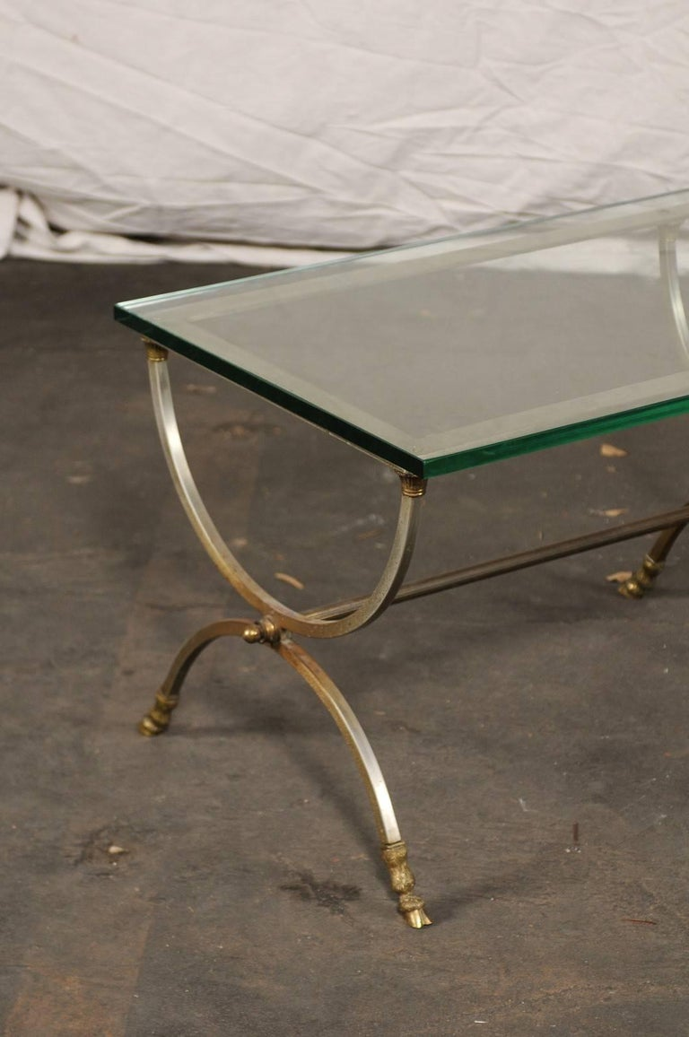 Large Scale Steel And Brass Coffee Table With Glass Top In Style Of Jansen For Sale At 1stdibs