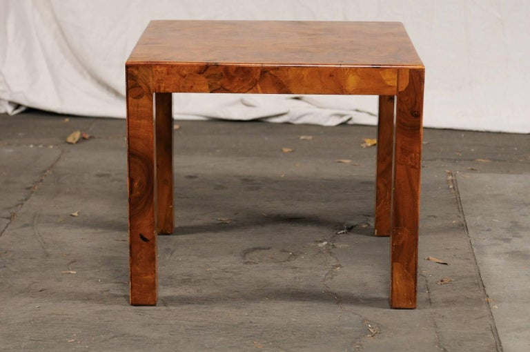 Mid 20th Century Italian Burled Olive Wood Side Table For