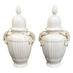 Pair of Early 20th Century Italian Glazed Floral Covered Jars
