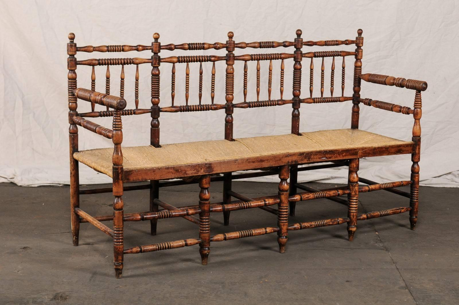 19th Century American Rustic Bench With Spindled Back And Woven Seat For  Sale 2