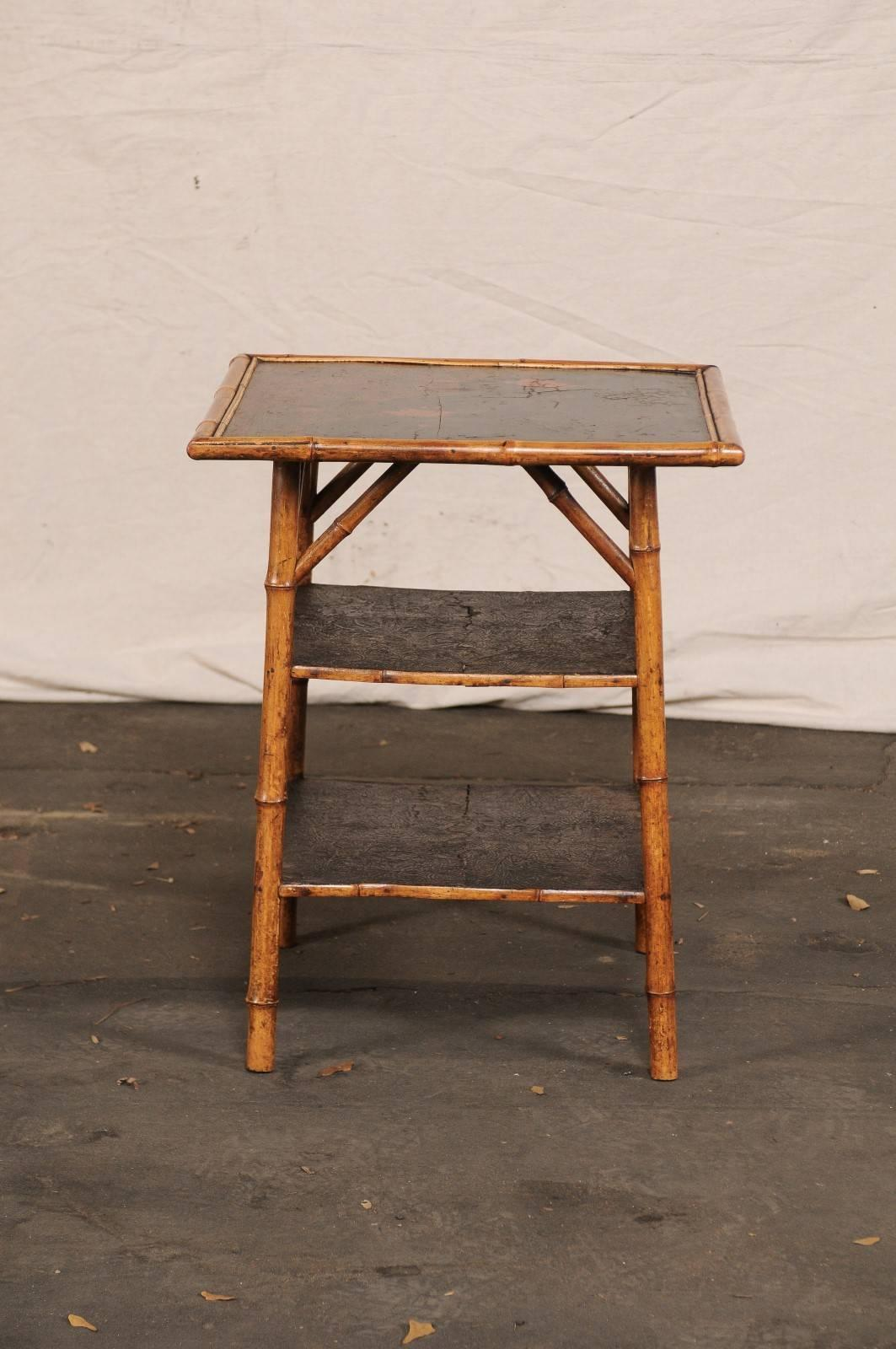 19th Century English Bamboo Three Tier Table For Sale 3