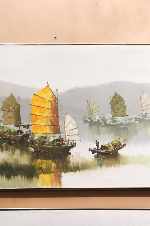 Canvas Pair of Hong Kong Harbor Oil Paintings in Neutral Colors by F.E. Cheang For Sale