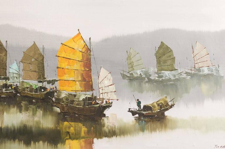Other Pair of Hong Kong Harbor Oil Paintings in Neutral Colors by F.E. Cheang For Sale