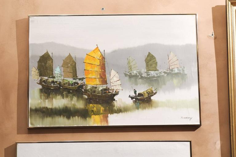 Pair of Hong Kong Harbor Oil Paintings in Neutral Colors by F.E. Cheang In Good Condition For Sale In Chamblee, GA