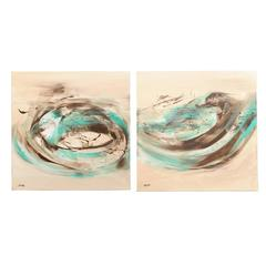 Pair of Abstract Paintings by Azam Zadeh