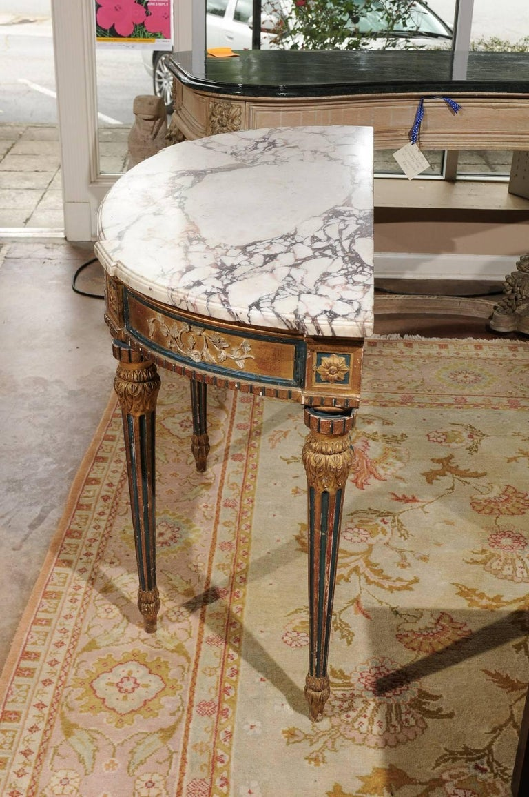 Antique carved and painted console table for sale at 1stdibs for Painted foyer tables