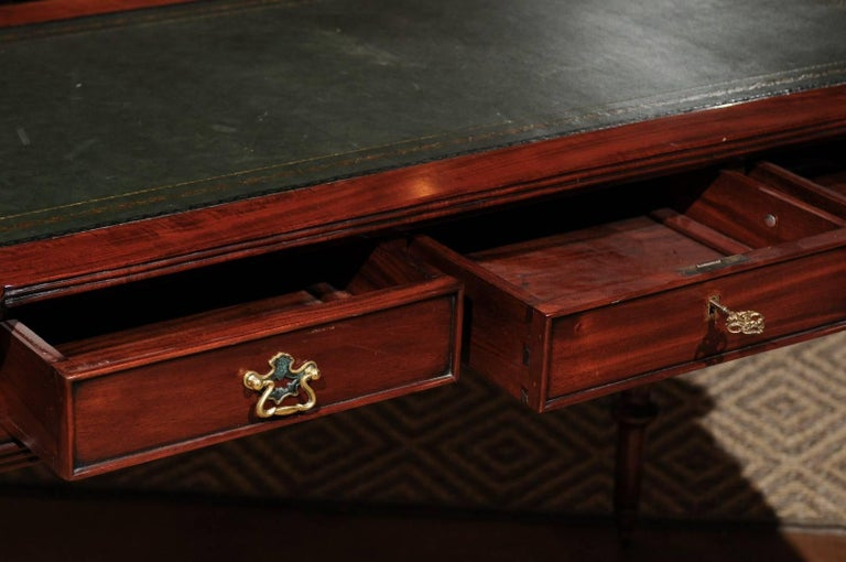 Gilt English Mahogany Writing Desk with Green Leather Top For Sale