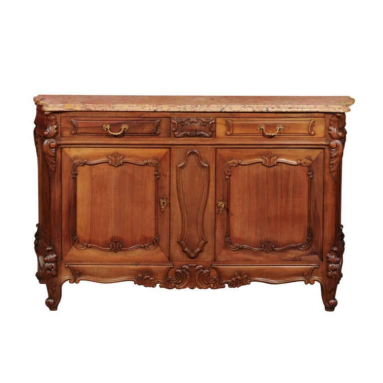 Mid-20th Century French Louis XV Enfilade with Marble Top