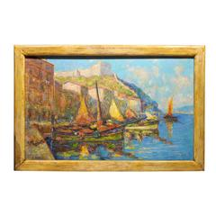 Italian Coastal Scene Oil Painting