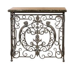 Midcentury Iron Console with Granite Top