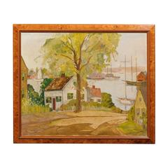 American Harbor Scene Oil Painting