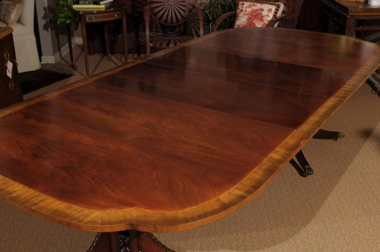 American Georgian Style Baker Double Pedestal Dining Table For Sale