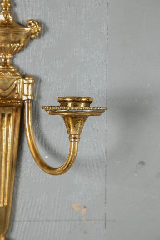 American Pair of Caldwell 1920s Gilt Bronze Sconces For Sale