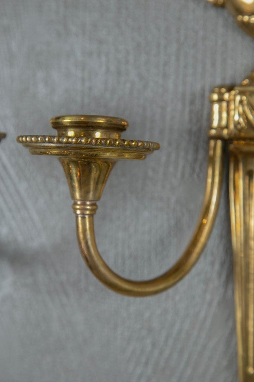 Early 20th Century Pair of Caldwell 1920s Gilt Bronze Sconces For Sale